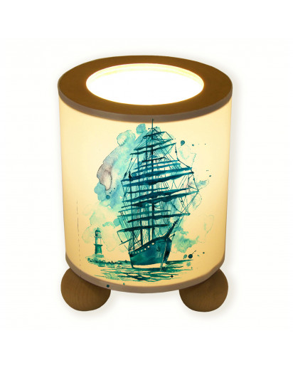 Tischlampe Segler Schiff mit Leuchtturm tl042 table lamp sailor ship with lighthouse tl042