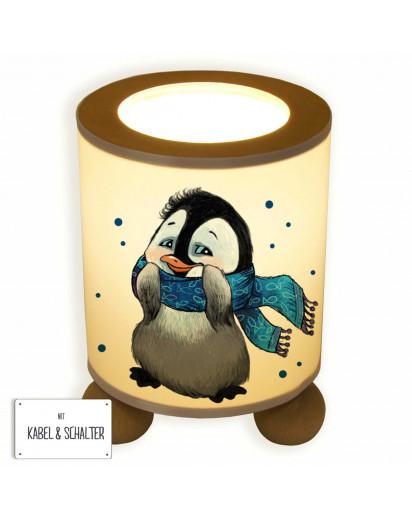 Tischlampe Nachttischlampe Kinderlampe Schlummerlampe Lampe Pinguin mit Schal und Punkten table lamp snooze light penguin with scarf and dots tl046