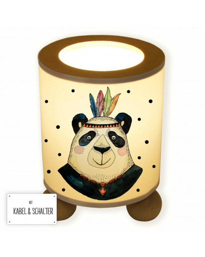 Tischlampe Nachttischlampe Kinderlampe Schlummerlampe Lampe Panda Papa Indianer Boho mit Punkten table lamp reading light snooze lamp panda dad indian boho with dots tl049