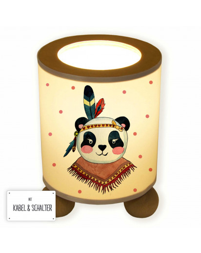 Tischlampe Nachttischlampe Kinderlampe Schlummerlampe Lampe Panda Mädchen Indianer Boho mit Punkten table lamp reading light snooze lamp panda girl with dots tl050