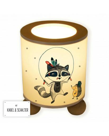Tischlampe Boho Waschbär Indianer mit Igel und Punkte tl058