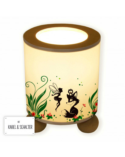 Tischlampe Nachttischlampe Leselampe Schlummerlampe Lampe Waldtiere mit Fuchs Eule und Fee Elfe table lamp reading light snooze lamp forest animals with fox owl and fairy elf pixie tl061