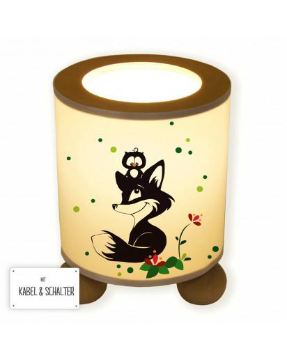 Tischlampe Waldtiere Fuchs und Eule mit Blumen und Punkten tl062