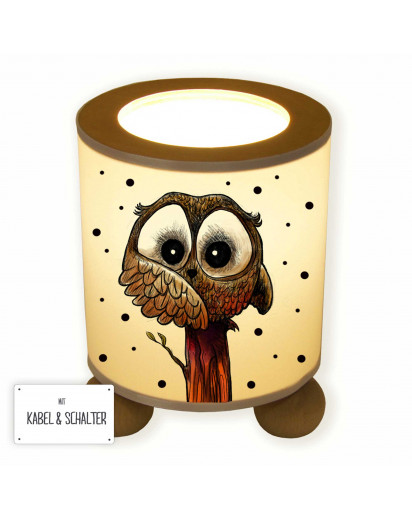 Tischlampe Nachttischlampe Leselampe Schlummerlampe Lampe Eule auf Stamm mit Punkten table lamp reading light snooze lamp owl on branch with dots tl063