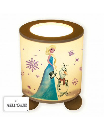Tischlampe Nachttischlampe Leselampe Schlummerlampe Lampe Schneekönigin und Schneemann Ole mit Schneeflocken table lamp reading light snooze lamp snow queen and snowman Ole with snowflakes tl067