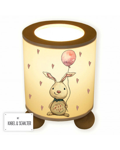 Tischlampe Hase Häschen mit Luftballon und Herzen tl068