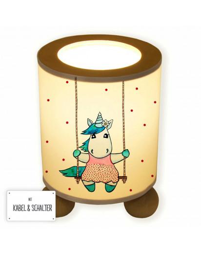 Lampe Tischlampe Nachttischlampe Schlummerlampe Leselampe Leuchte Licht Einhorn auf Schaukel mit Punkten table lamp nightlight snooze light reading lamp unicorn on swing with dots tl069