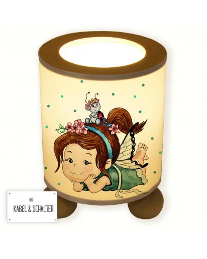 Lampe Tischlampe Nachttischlampe Kinderlampe Schlummerlampe mit Schalter Fee Elfe mit Marienkäfer und Punkten table lamp elf fairy with ladybugs and dots tl070.jpg