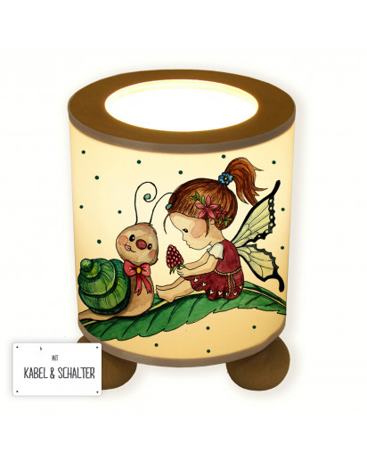 Lampe Tischlampe Nachttischlampe Kinderlampe Schlummerlampe mit Schalter Fee Elfe mit Himbeere Schnecke und Punkten table lamp elf fairy with snail raspberry and dots tl071.jpg