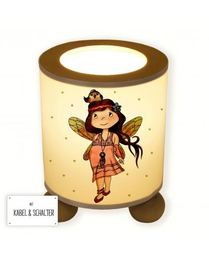 Lampe Tischlampe Nachttischlampe Kinderlampe Schlummerlampe mit Schalter Fee Elfe Anouki mit Vogel und Punkte table lamp elf fairy anouki with bird and dots tl073.jpg