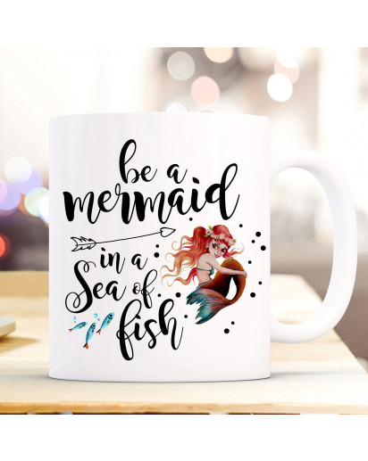 Tasse Becher Kaffeetasse mit Meerjungfrau Spruch Be a mermaid... Kaffeebecher Geschenk Spruchbecher Geschenk ts1047