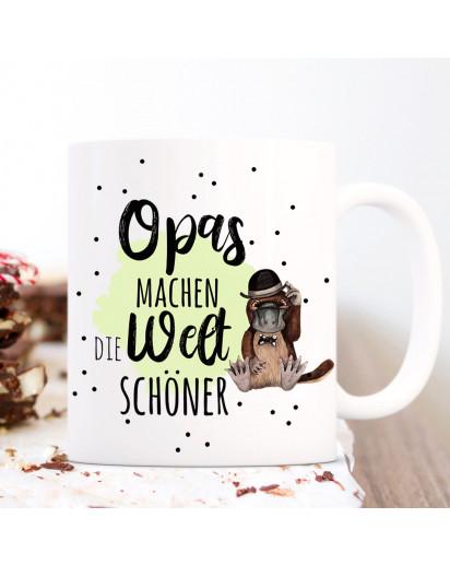 Tasse Becher mit Spruch Opas machen die Welt schöner & Schnabeltier Hut grün Motiv Kaffeebecher Geschenk Spruchbecher ts1064