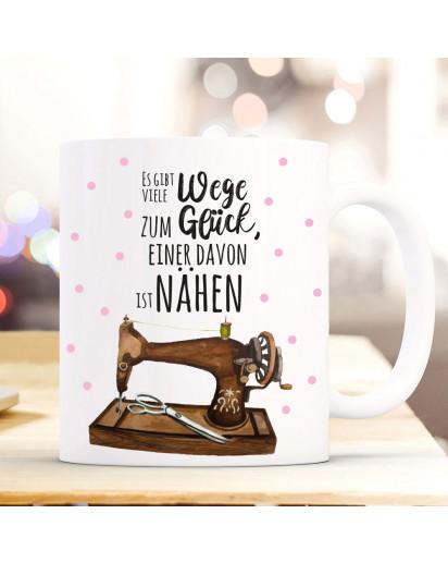 Tasse Becher Kaffeetasse Kaffeebecher mit Nähmaschine Punkte & Spruch viele Wege zum Glück. Einer davon ist nähen ts1069