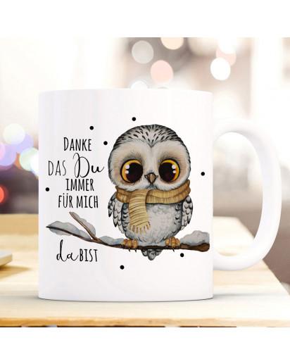 Tasse Becher mit Spruch Danke das Du immer für mich da bist & Eule auf Ast Zweig Motiv Kaffeebecher Geschenk Spruchbecher ts1077