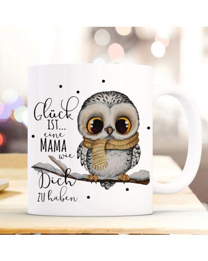 Tasse Becher mit Spruch Glück ist eine Mama wie Dich zu haben & Eule auf Ast Zweig Motiv Kaffeebecher Geschenk Spruchbecher ts1080