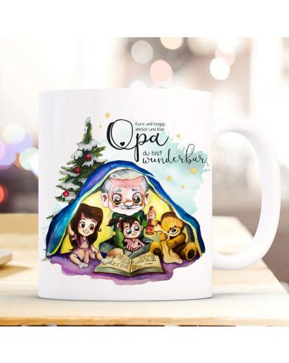 Tasse Becher mit Spruch Opa du bist wunderbar & Enkel Kinder Teddybär Opi Geschichtenerzähler Buch Motiv Kaffeebecher Geschenk Spruchbecher ts1083