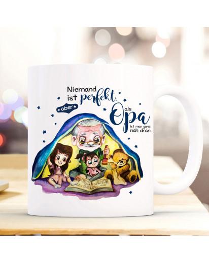 Tasse Becher mit Spruch Opa perfekt & Enkel Kinder Teddybär Opi Geschichtenerzähler Buch Motiv Kaffeebecher Geschenk Spruchbecher ts1084