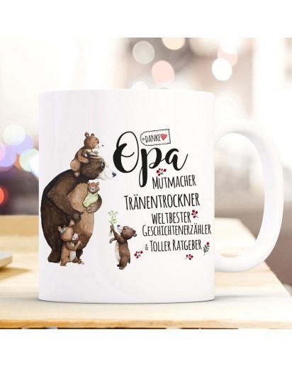 Tasse Becher mit Spruch Danke Opa Mutmacher weltbester & Bär Opabär Bärenkinder Enkel Kinder Motiv Kaffeebecher Geschenk ts1086