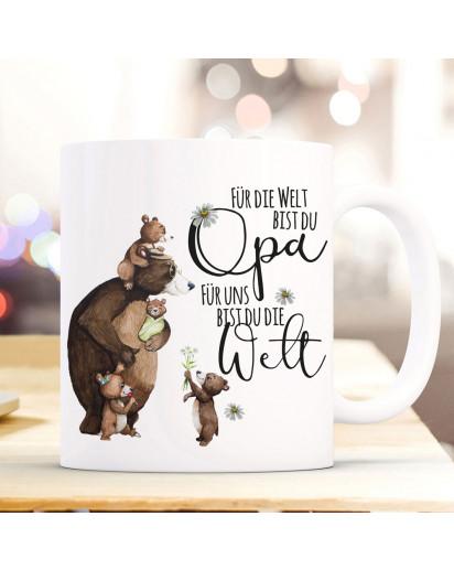 Tasse Becher mit Spruch Für die Welt bist du Opa & Bär Opabär Bärenkinder Enkel Kinder Motiv Kaffeebecher Geschenk ts1087