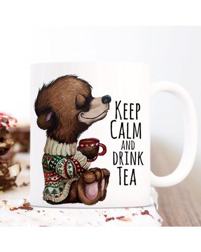 Tasse Becher Bär Bärchen mit Tasse & Spruch Keep calm and drink tea Kaffeebecher Teetasse Geschenk ts1164