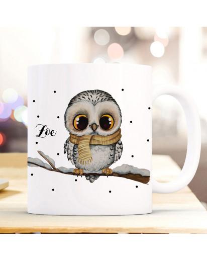 Tasse Becher Eule Eulchen auf Ast Zweig Motiv mit Wunschname Name individuell Kaffeebecher Kaffeetasse Geschenk ts1171