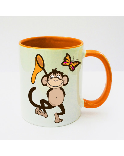 Tasse Affe Äffchen mit Fangnetz und Schmetterling cup monkey with fishing net and butterfly ts131b