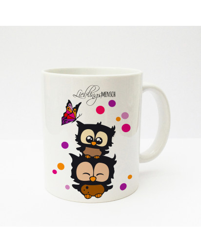 Tasse Becher Kaffeetasse Kaffeebecher Kindertasse Kinderbecher Eulen Eulchen mit Konfetti und Schmetterling Lieblingsmensch cup mug kids cup kids mug coffee cup coffee mug owls little owls with confetti and butterfly favourite person ts137