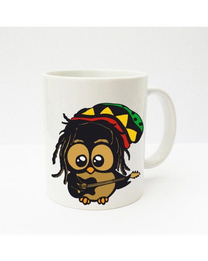 Tasse Becher Kaffeetasse Kaffeebecher Kindertasse Kinderbecher Tasse Eule Eulchen Bob Marley Reggae Eule mit Gitarre cup mug kids cup kids mug coffee cup coffee mug owl little owl Bob Marley reggae owl with guitar ts139
