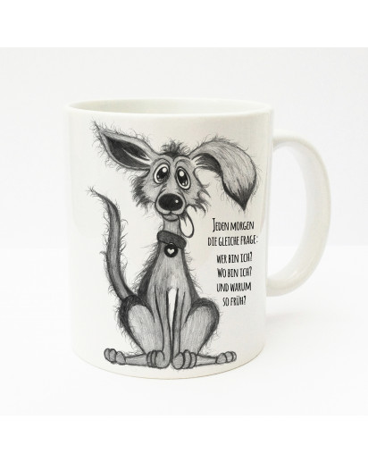 Tasse Becher Kaffeetasse Kaffeebecher Kindertasse Kinderbecher Tasse süßer Hund mit Spruch jeden Morgen die gleiche Frage cup mug kids cup kids mug coffee cup coffee mug cute dog with saying every morning the same question ts149
