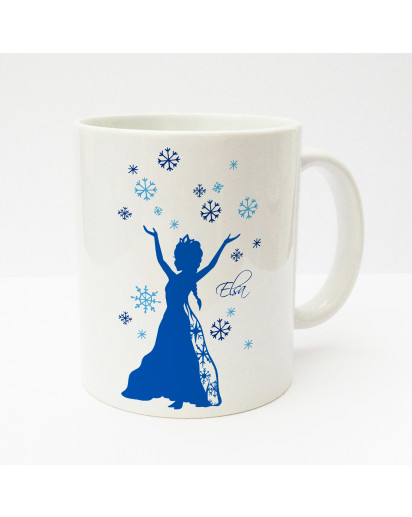 Tasse Becher Kaffeetasse Kaffeebecher Kindertasse Kinderbecher Schneeflocken Schneekristalle und Schneekönigin mit Wunschnamen in blau cup mug kids cup kids mug coffee cup coffee mug snowflakes snow crystals and snow queen with desired name in blue ts167