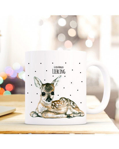 Tasse Reh Rehkitz Bambi mit Punkten und Spruch Guten Morgen Liebling ts178