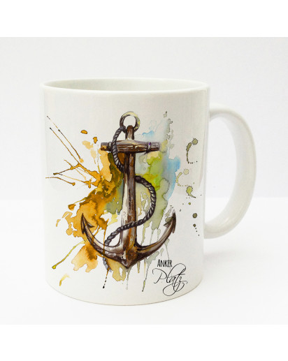 Tasse Becher Kaffeetasse Kaffeebecher Kindertasse Kinderbecher Tasse Anker mit Tau maritim mit Spruch Ankerplatz orange gelb braun cup mug kids cup kids mug coffee cup coffee mug anchor with rope maritime with saying anchorage orange yellow brown ts182