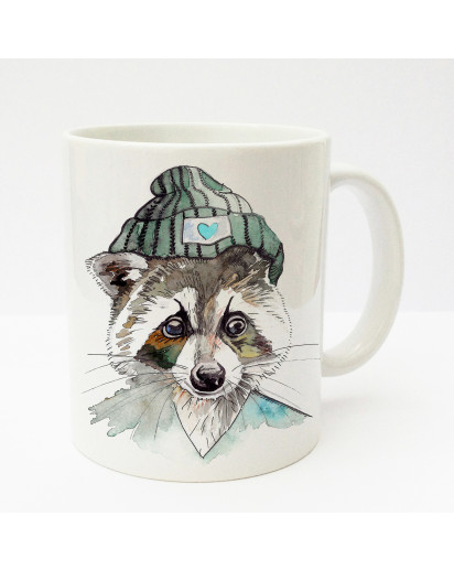 Tasse Becher Kaffeetasse Kaffeebecher Kindertasse Kinderbecher Tasse Waschbär mit Mütze türkis braun cup mug kids cup kids mug coffee cup coffee mug raccoon with cap turquoise brown ts185