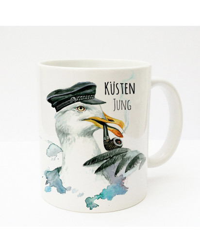 Tasse Becher Kaffeetasse Kaffeebecher Kindertasse Kinderbecher Kapitän Möwe mit Pfeife Mütze und Spruch Küsten Jung cup mug kids cup kids mug coffee cup coffee mug captain sea gull with pipe hat and saying coast boy ts191