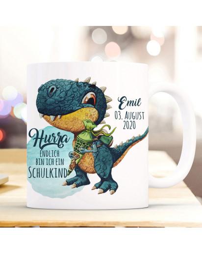 Tasse Becher zum Schulanfang Schulstart Dino T-Rex Schultüte Spruch Hurra endlich Schulkind mit Wunschname + Jahr der Einschulung ts2022
