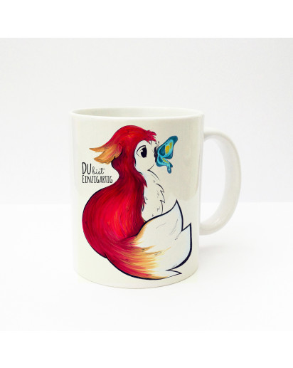 "Tasse Fuchs mit Schmetterling und Spruch ""Du bist einzigartig"" Cup fox with butterfly and saying ""you are unique"" ts220"
