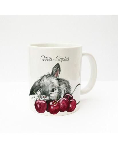 Tasse Häschen Kaninchen mit Kirschen und Wunschnamen Cup rabbit bunny with cherries and custom name ts228