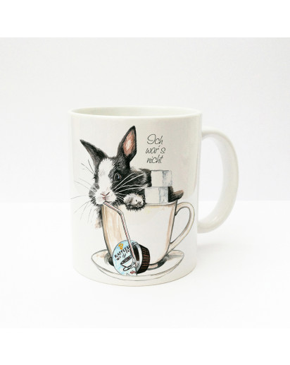 "Hauptbild Tasse Häschen Kaninchen im Kaffeebecher mit Zucker Sahne und Spruch ""Ich war's nicht"" Cup rabbit bunny in coffee cup with sugar coffee cream and saying ""it wasn't me"" ts232"
