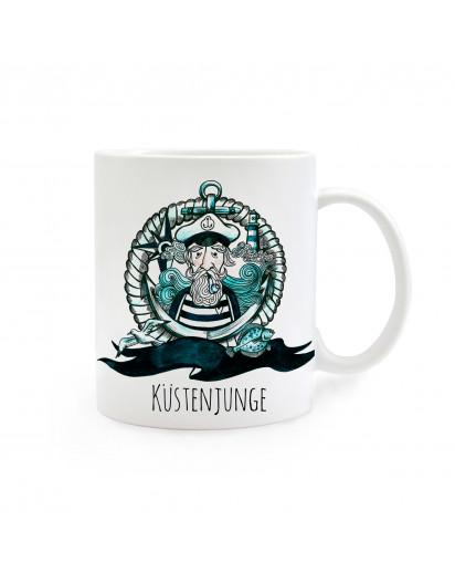 Tasse Becher Kindertasse Kinderbecher Kaffeetasse Kaffeebecher Küstenjunge Käpt´n maritim cup mug coast young captain maritime ts235