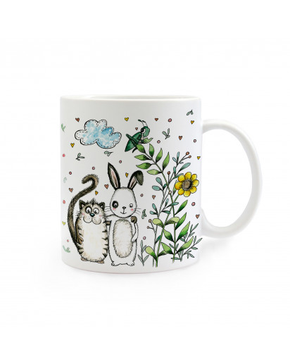Tasse beste Freunde Katze und Hase cup best friends cat and bunny ts250