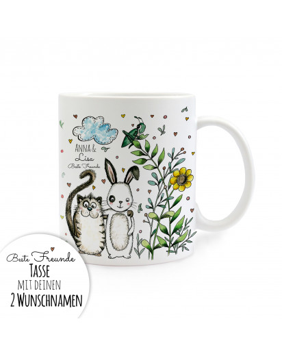 Tasse Beste Freunde Katze und Hase mit Wunschnamen cup best friends cat and bunny with desired name ts251