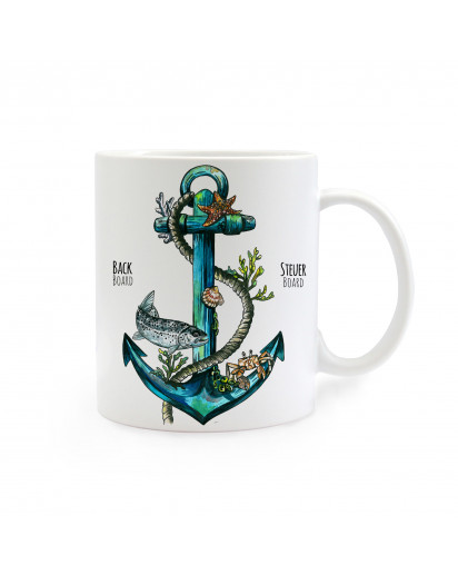 Tasse Anker mit Tau und Fisch Backboard Steuerboard cup anchor with rope and fisch portside starboard ts254