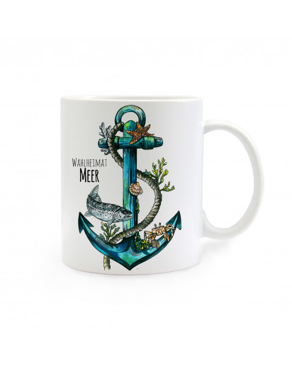 Anker mit Tau und Fisch Meer Wahlheimat cup anchor with rope and fish sea adopted home ts255