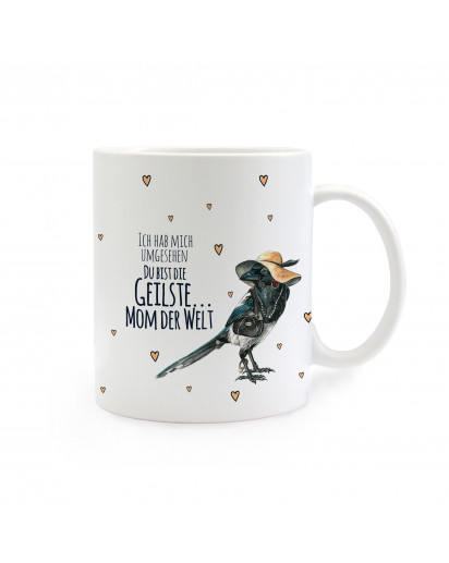 Tasse Elster mit Spruch Ich hab mich umgesehen... cup magpie with saying I looked around... ts262