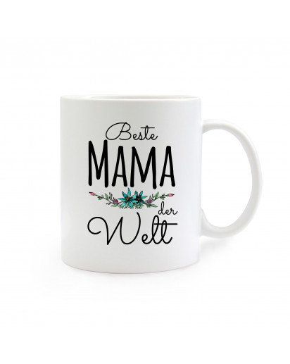 Tasse Muttertag mit Blumen und Spruch Beste Mama der Welt cup mother's day with flowers and saying best mom of the world ts266