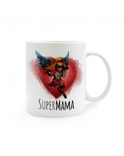 Tasse Muttertag mit Superheldin und Spruch Super Mama cup mother's day with superhero and saying super mom ts268