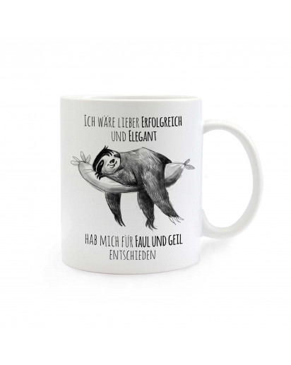 Tasse Faultier mit Spruch erfolgreich und elegant - faul und geil cup sloth successful and graceful - lazy and awesome ts275