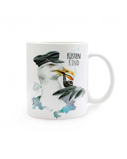 Tasse Kapitän Möwe mit Spruch Küstenkind cup captain seagull with saying coast child ts276