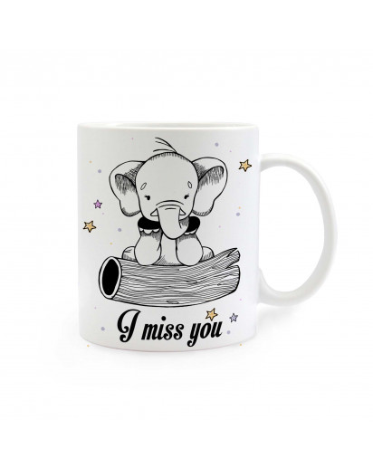 Tasse Elefant mit Sternen und Spruch I miss you Cup elephant with stars and saying I miss you ts283