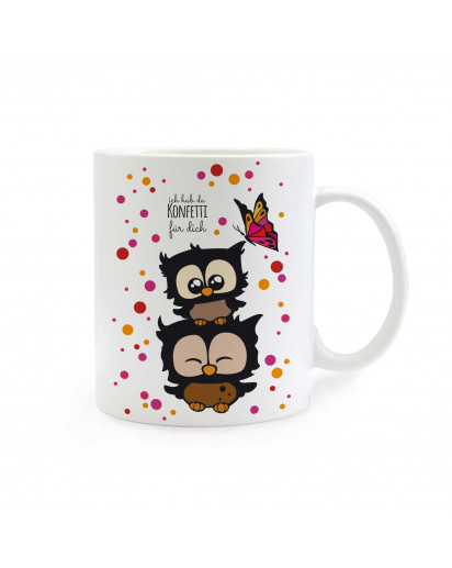 Tasse Eulen Eulchen mit Schmetterling und Spruch Ich hab da Konfetti für dich owls little owls with Butterfly and saying I've got confetti for you elephant with stars and saying I miss you